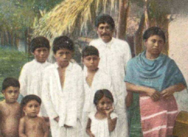This Old Postcard Taken In The Early 20th Century Shows A Rural Mexican Family Older Boys Are Wearing Traditional White Clothing