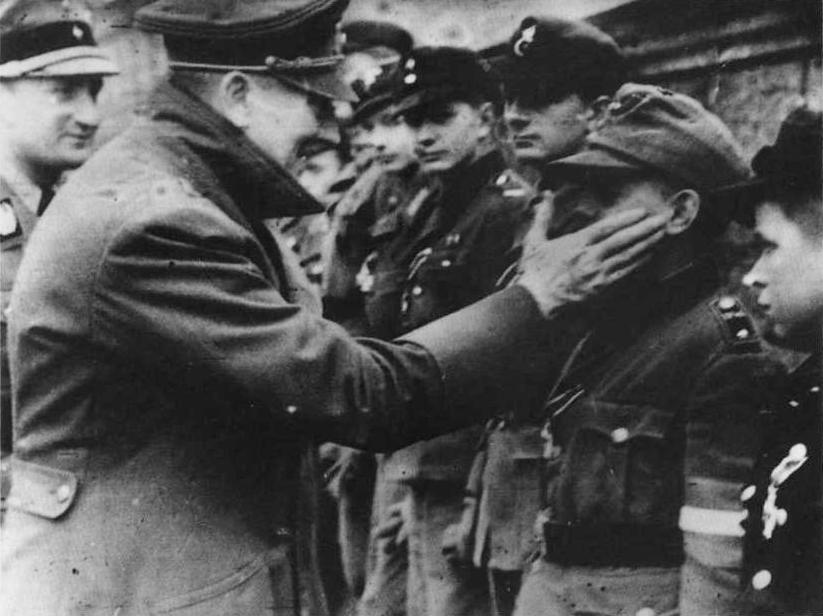 Hiler Youth boys with Hitler in Berlin