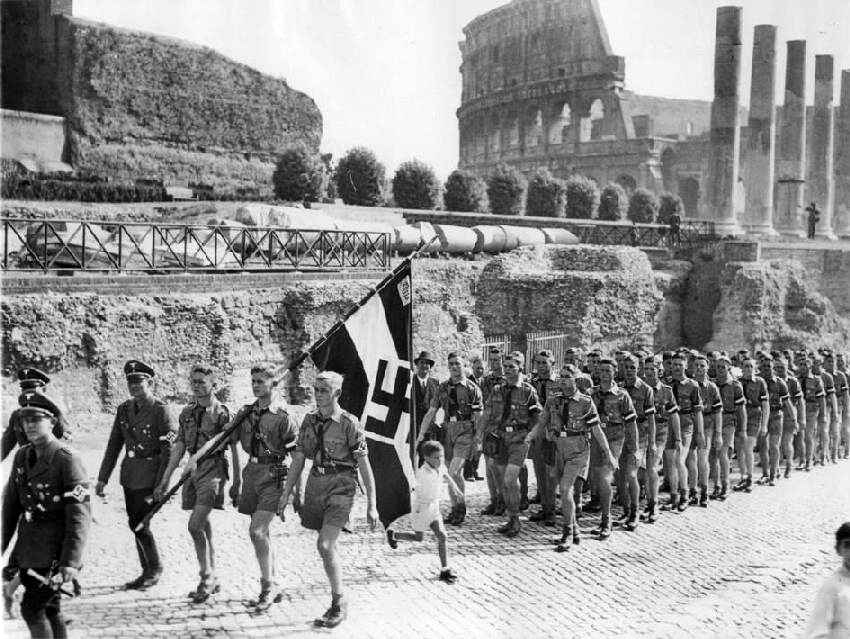 Image result for mussolini hitler youth 1936